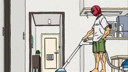 ヒモ生活なので家を掃除中の主人公・サンレッド